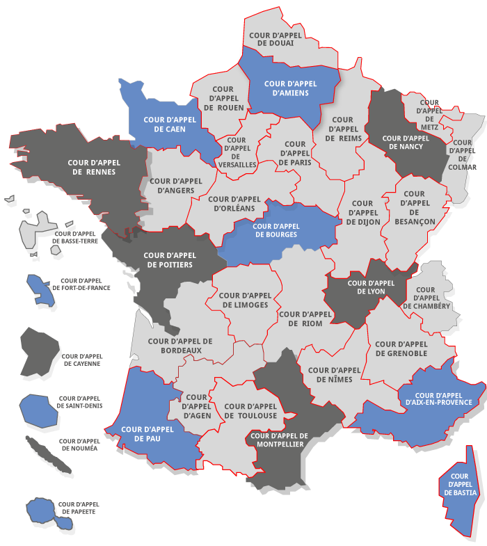 carte COURS D'APPEL DE FRANCE